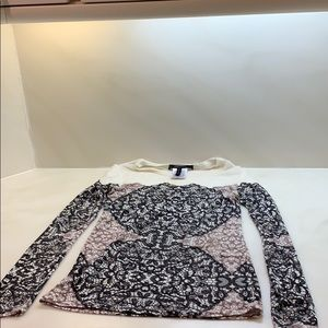BCBGMaxazria sheer sexy lace print top